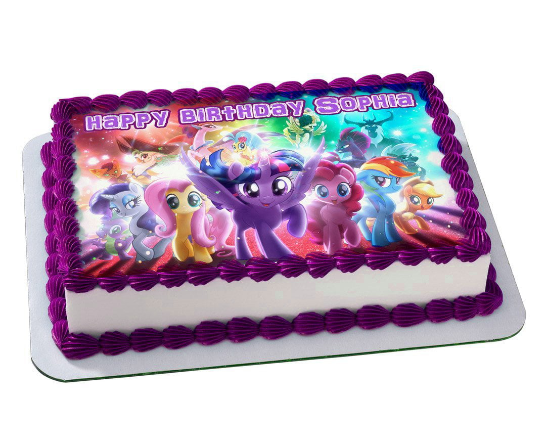 Incredible My Little Pony Personalized Edible Cake Sheet 1 4 Sheet Walmart Funny Birthday Cards Online Alyptdamsfinfo