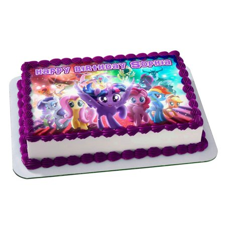 MY LITTLE PONY Quarter Sheet Edible Photo Birthday Cake Topper. ~ Personalized! 1/4 Sheet