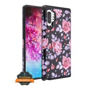 "Samsung Galaxy Note 10 Plus (6.8"") Phone Case Protective Shockproof Heavy Duty 2 Layers Hybrid Armor TPU Rubber Rugged Heavy Duty Hard Cover Pink Roses Floral Case for Samsung Galaxy Note 10 PLUS"