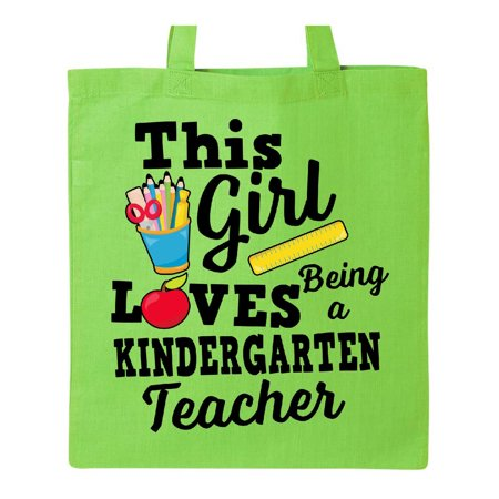 This Girl Loves Being a Kindergarten Teacher Tote Bag Lime Green One Size](Best Teacher Bags)