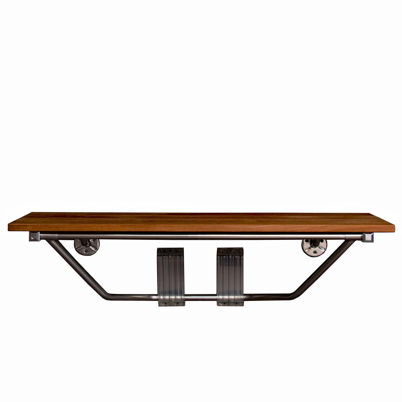 Folding Shower Bench Modern Finished 100% Teak Wood - Walmart.com