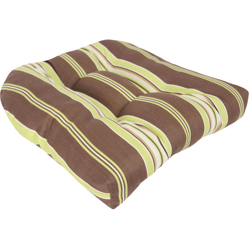 Jordan Manufacturing Stripe Outdoor Tufted Wicker Seat Cushion, Multiple Patterns
