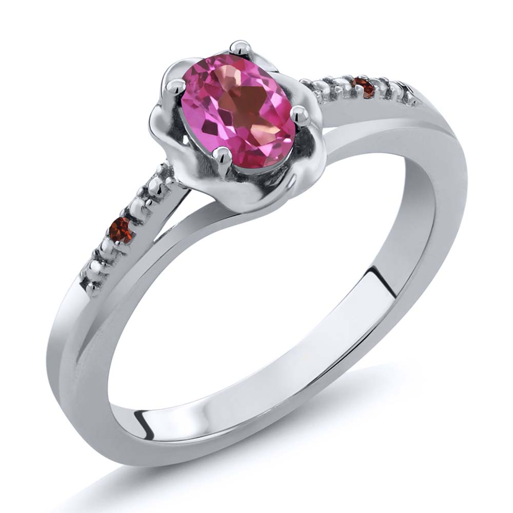 0.52 Ct Oval Pink Mystic Topaz Red Garnet 14K White Gold Ring by