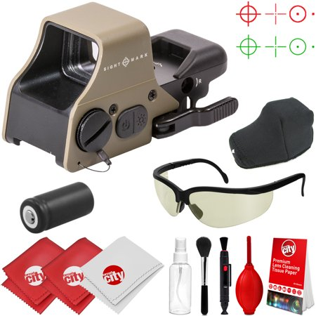 Earth Dots - Sightmark Ultra Shot Plus Reflex Dark Earth Red/Green Dot Sight w/ Tinted Ballistic Glasses and Cleaning Kit (SM26008DE)