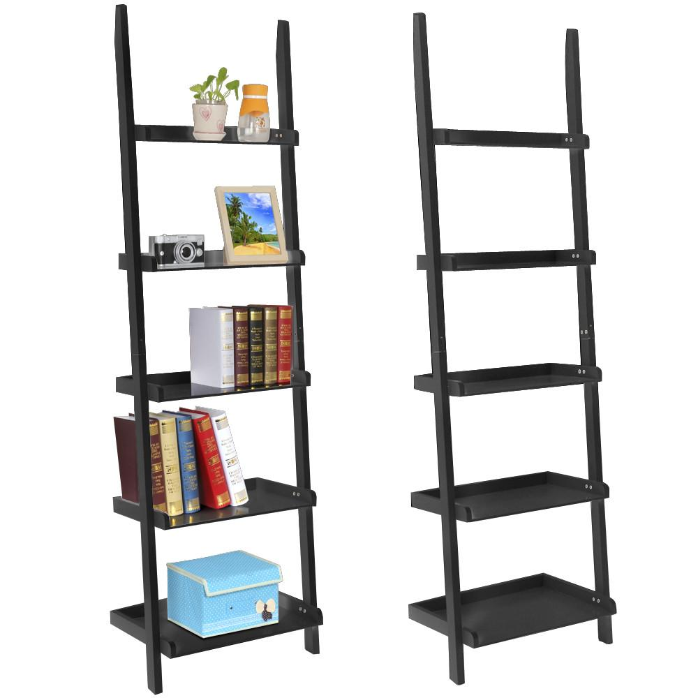 Yaheetech Living Room Black Wooden 70 Inch 5 Tier Leaning Ladder Shelf Bookcase Bookshelf Stylish Display Storage Shelves Unit