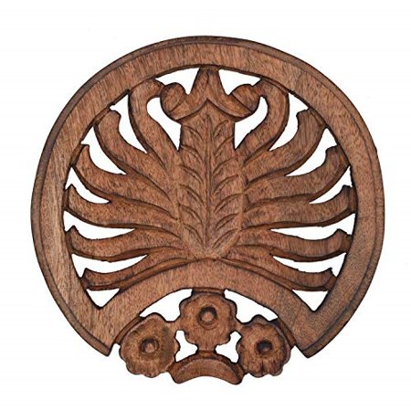 Floral Trivet - storeindya Diwali Gift Decoration Trivet Kitchen Hot Dishes Dining Table Accessories Floral Painted Mango Wood Kitchen Tools Gadgets (Brown)