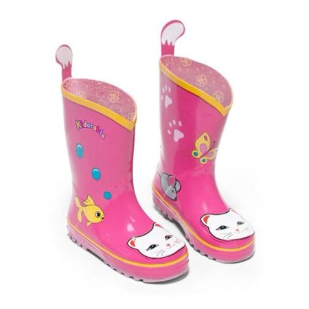 Kidorable Little Girls Pink Lucky Cat Print Rubber Rain Boots 5-10 Toddler - Kidorable Pink Cat