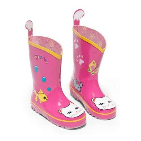 Kidorable Little Girls Pink Lucky Cat Print Rubber Rain Boots 5-10 Toddler
