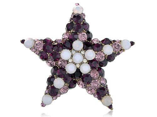 Golden Tone Purple White Opal Crystal Rhinestone Holy Star Fashion Pin Brooch by