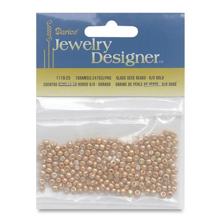 Darice Metallic Glass Seed Beads - Gold, 7 g bag