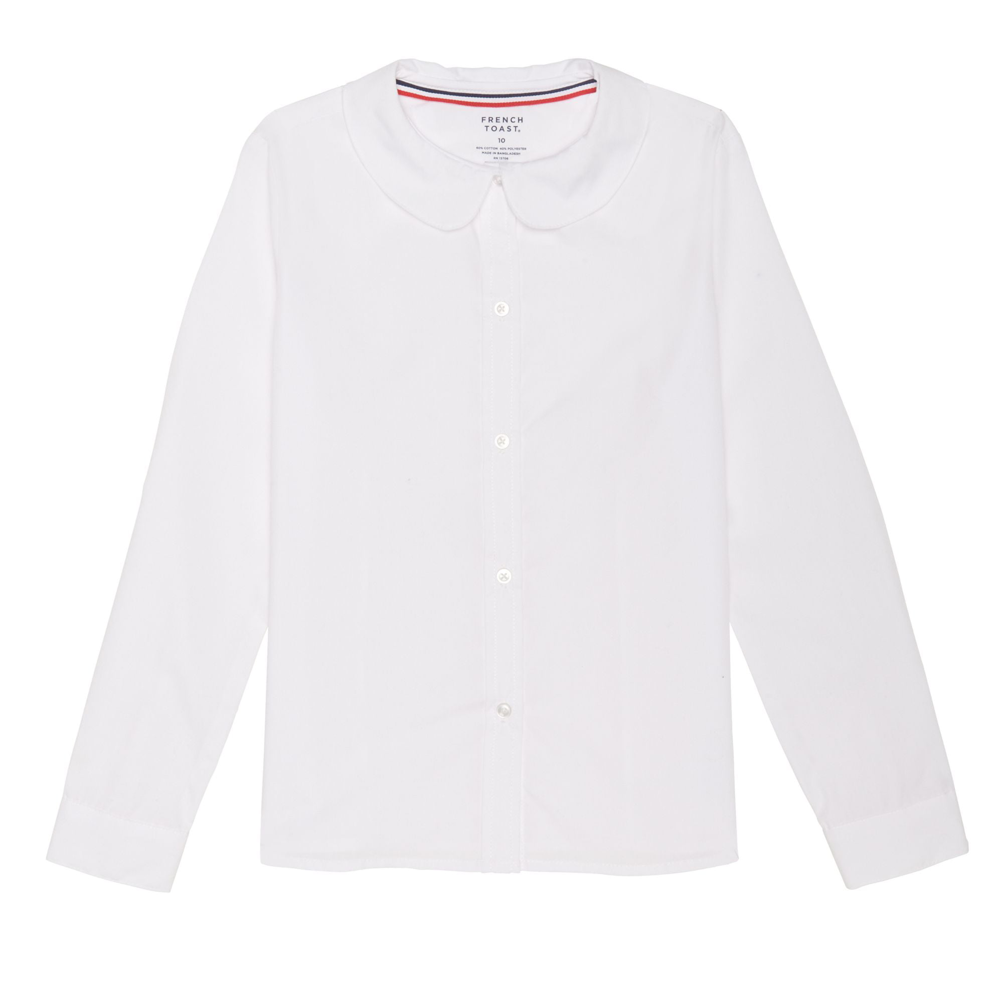 White 12.5 Plus French Toast Girls Size Short Sleeve Peter Pan Collar Blouse