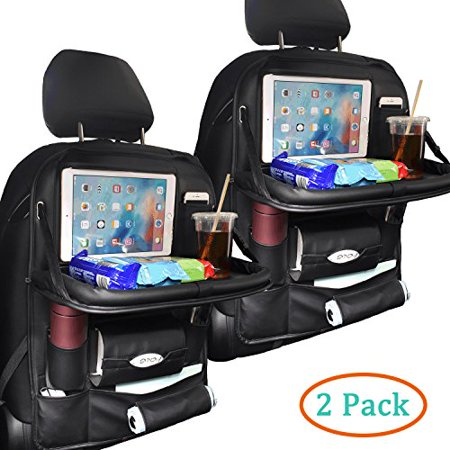 2 Pack PU Leather Car Backseat Organizer for Baby with Tray Foldable Dining Table Desk SUASI Back Seat Tablet Ipad Holder Tissue Storage Bag Pockets for Kids Travel(2 Pack)
