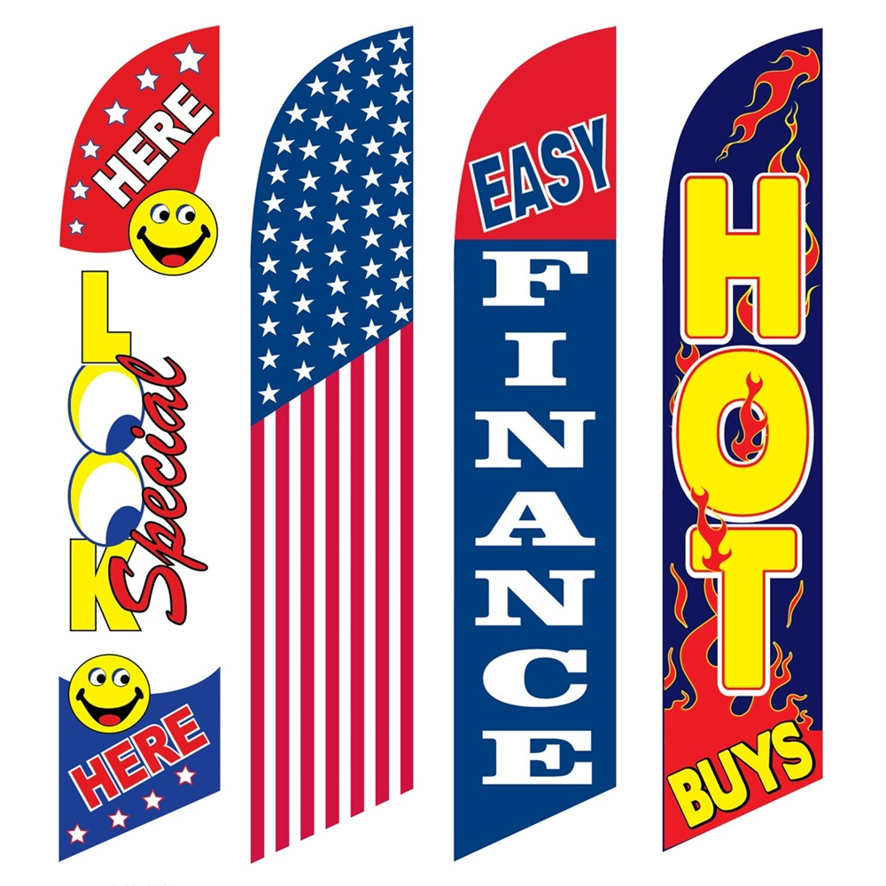 4 Advertising Swooper Flags Look Special Here America Easy Finance Hot Buys