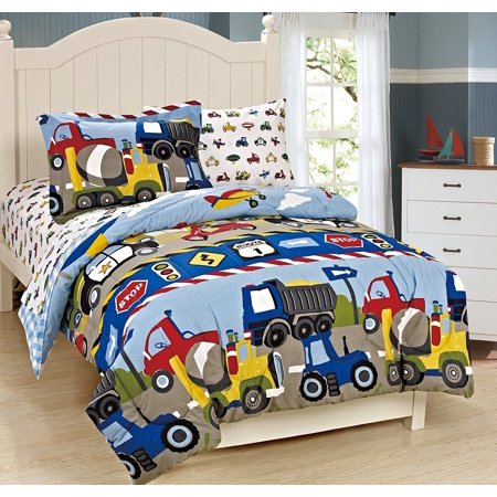 Fancy Linen 7pc Boys Full Comforter and Sheet Set Trucks Tractors Blue Red New