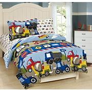 Fancy Linen 7pc Boys Full Comforter and Sheet Set Trucks Tractors Blue Red New