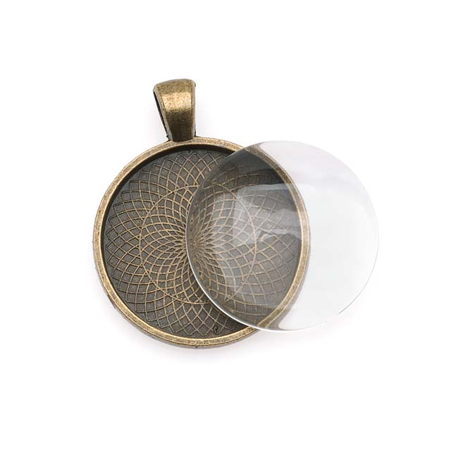 Antique Brass Color Round Bezel With Glass Round Cabochon 25mm - Pendant Kit