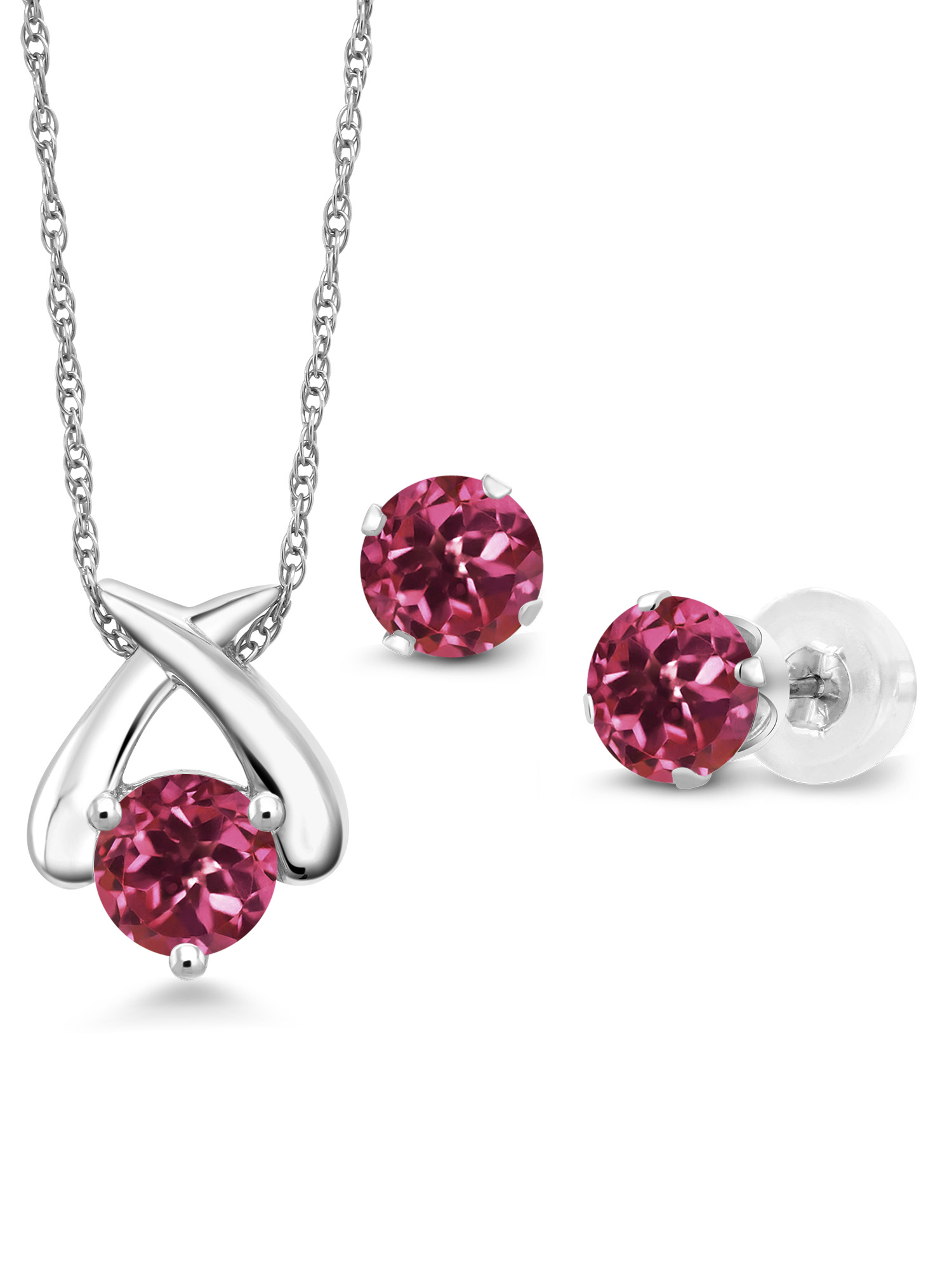 1.50 Ct Round Pink Tourmaline 10K White Gold Pendant Earrings Set With Chain by