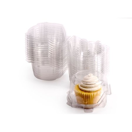 TMISHION 100Pcs Mini Cat Head Clear Plastic Cupcake Muffin Box Container - Cupcake Boxes With Inserts