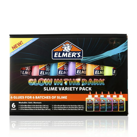 Elmer's Glow in the Dark Glue Variety Pack | Liquid Glue for Making Slime, Assorted Colors, 6 Count