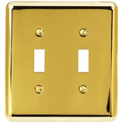 Elumina Traditional Steel Bright Brass Wallplate, Double Toggle