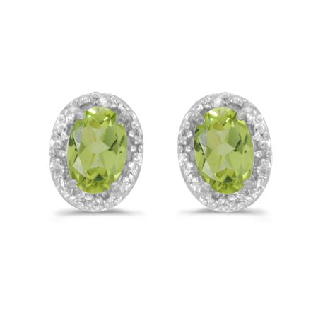 14K White Gold Oval Peridot and Diamond Earrings (1ct - Oval Peridot Polished Earrings