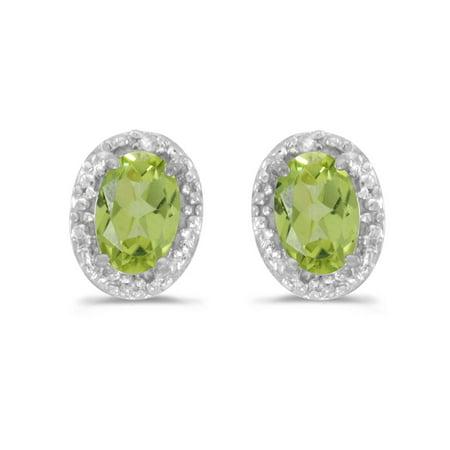 14K White Gold Oval Peridot and Diamond Earrings (1ct