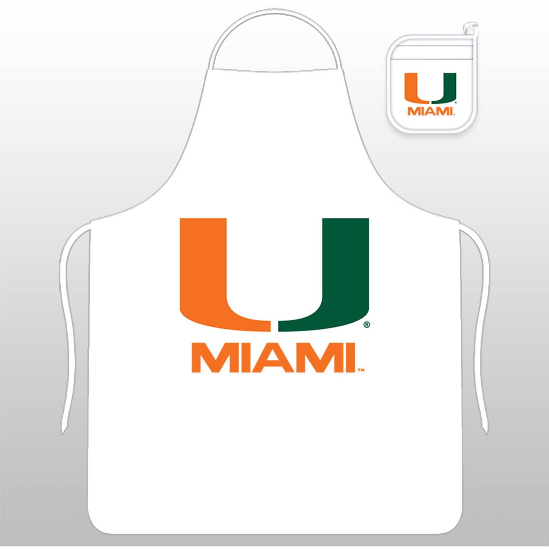 NCAA University of Miami Tail Gate Kit with Apron and Mitt
