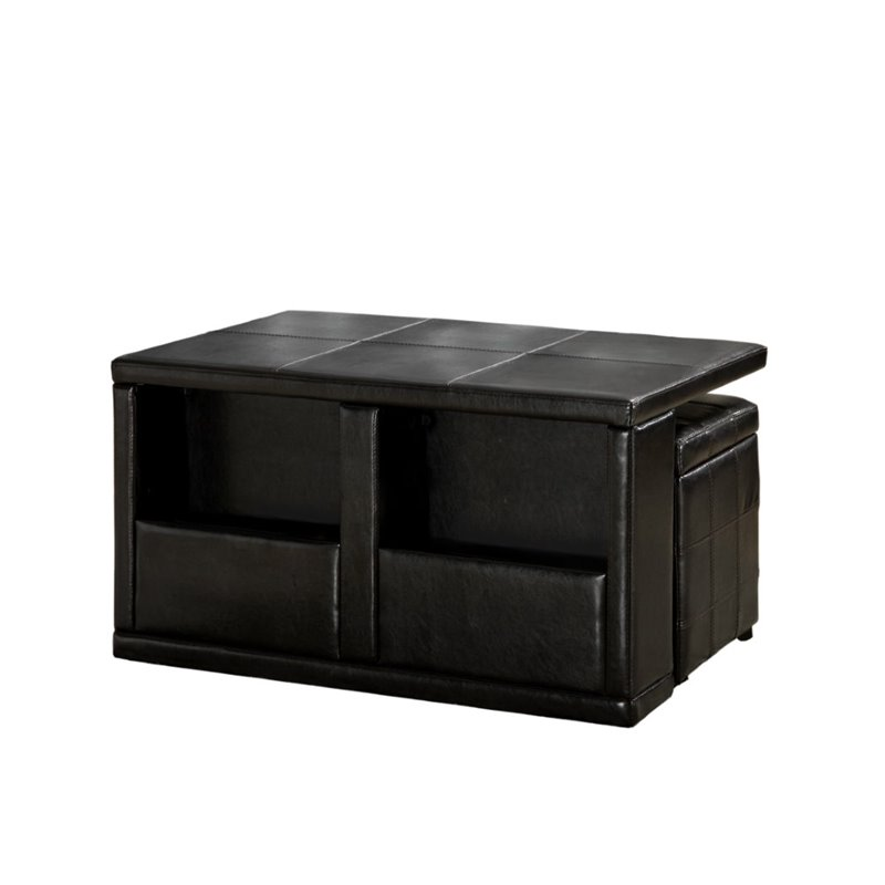 Wonderful Furniture Of America Curley Coffee Table With Ottomans In Espresso