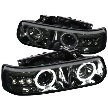 Spec-D Tuning For 1999-2006 Chevy Silverado Tahoe Suburban Smoke Halo Led Projector Headlights (Left+Right) 1999 2000 2001 2002 2003 2004 2005