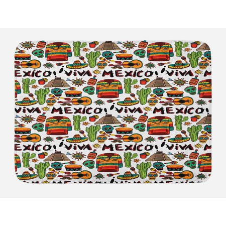 Hot Tequila - Mexican Bath Mat, Viva Mexico with Native Elements Poncho Tequila with Salsa and Hot Peppers Image, Non-Slip Plush Mat Bathroom Kitchen Laundry Room Decor, 29.5 X 17.5 Inches, Multicolor, Ambesonne