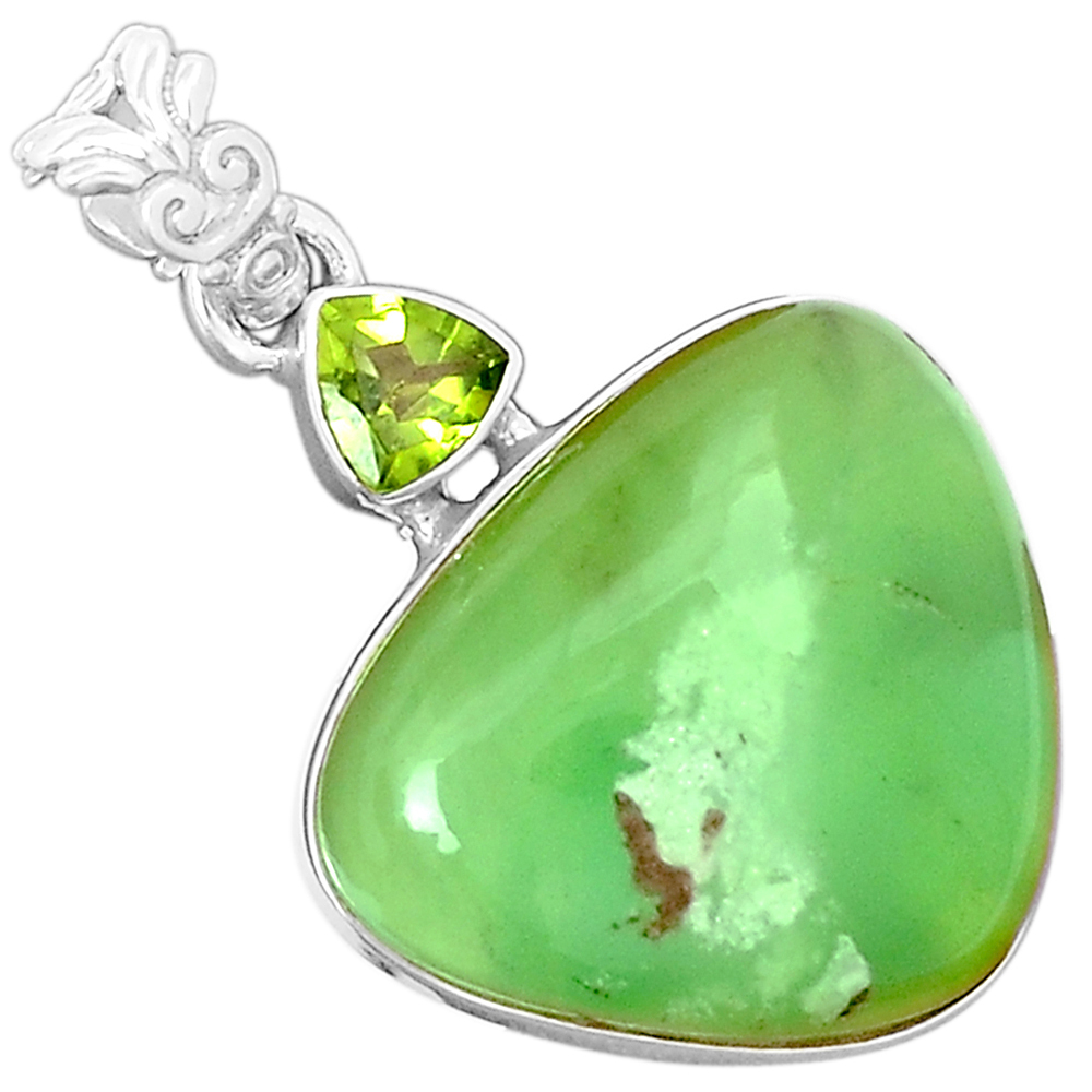 XTREMEGEMS Chrysoprase & Peridot 925 Sterling Silver Pendant Jewelry 6434P by