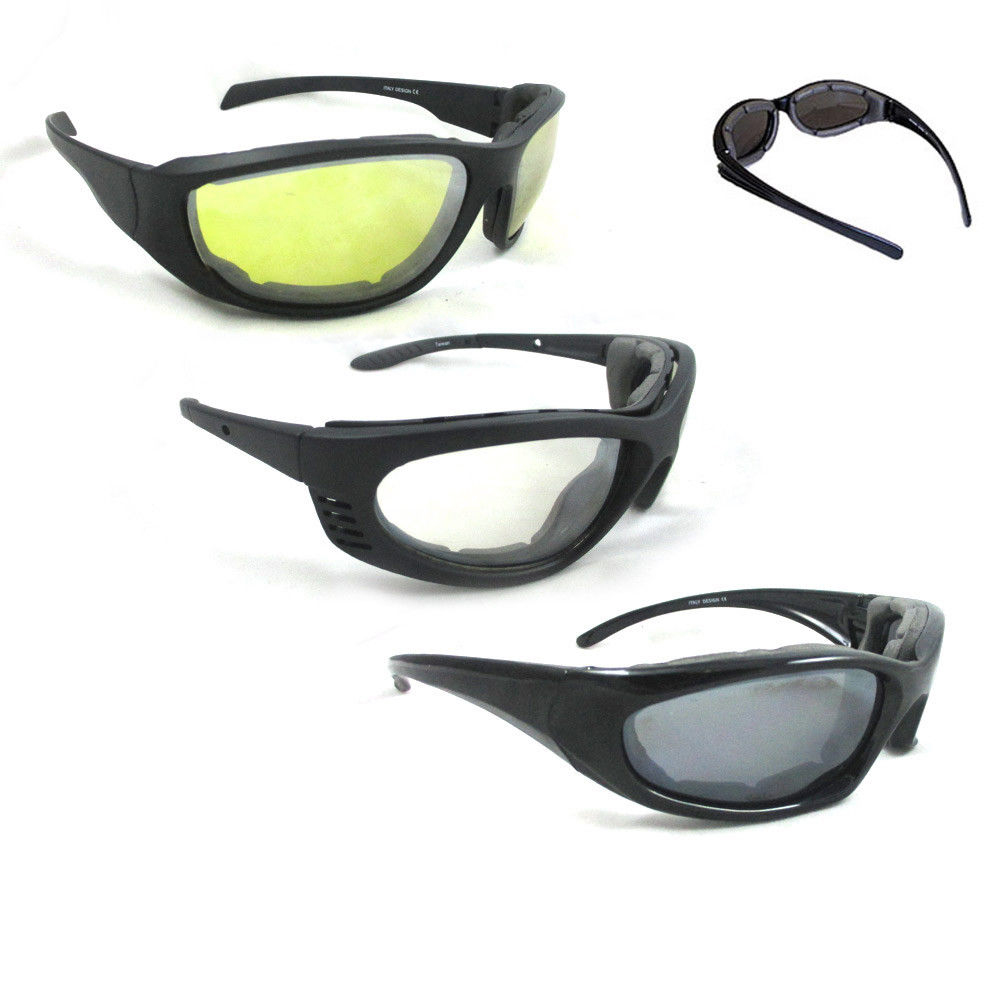 3 Pair Combo Padded Motorcycle Sunglasses Wind Resistant Riding Glasses New !