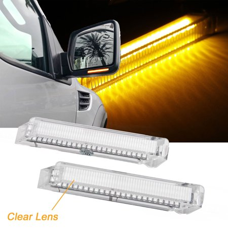 Xotic Tech 2x Clear Lens LED Side View Mirror Light Turn Signal Lamp for Ford F-150 2004-2014 - Chrome Housing