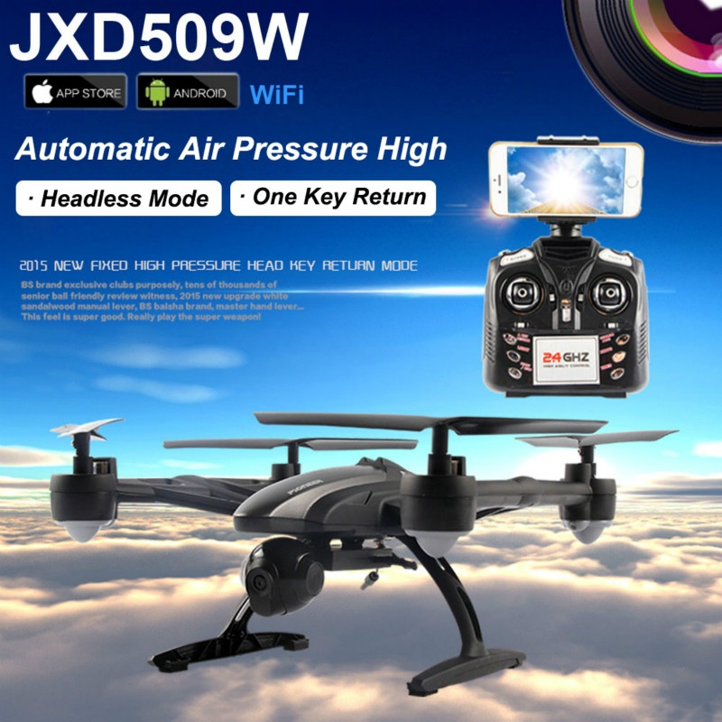 JXD509W WIFI FVP Real time RC Quadcopter One Key Return 2.4GHz Headless Mode Helicopter Drone With HD Camera RTF