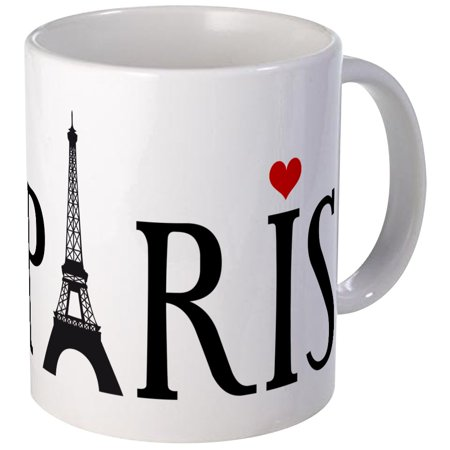 CafePress - Paris With Eiffel Tower And Red Heart Mug - Unique Coffee Mug, Coffee Cup CafePress