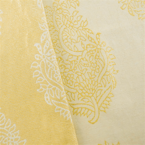 Yellow Ornamental Paisley Jacquard Home Decorating Fabric Fabric By