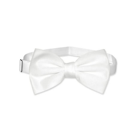 Vesuvio Napoli BOWTIE Solid WHITE Color Men's Bow Tie for Tuxedo or - Light Up Bow Ties