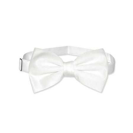 Vesuvio Napoli BOWTIE Solid WHITE Color Men's Bow Tie for Tuxedo or Suit - White Bowtie