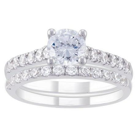 believe by brilliance sterling silver cz bridal set