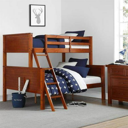 Your Zone Twin Over Full Wood Bunk Bed Walnut
