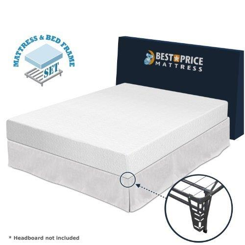 """Best Price Mattress 8"""" Comfort Memory Foam Mattress and New Innovated Platform Metal Bed Frame Set with... by"""