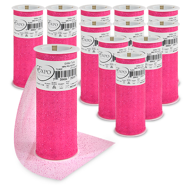 """Expo Int'l Pack of 12 Glitter Tulle Spool 6"""" x 10 Yards"""