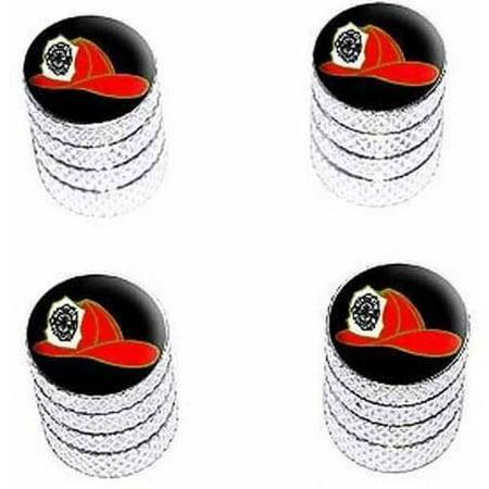 Fire Fighter Helmet Fire Department on Black Tire Rim Wheel Aluminum Valve Stem Caps, Multiple Colors