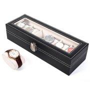 Leather 6 Slots Wrist Watch Storage Box Holder Organizer Case