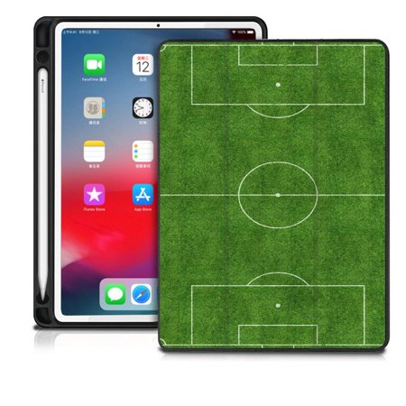 "DistinctInk® Case compatible with iPad Pro 12.9"" (THIRD Gen) - Custom Case / Stand with Apple Pencil Holder - Auto Sleep/Wake - Printed - Soccer Field Layout"