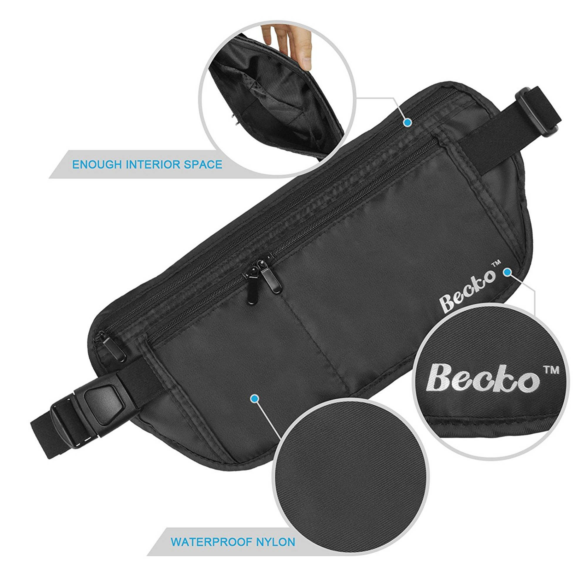 Becko Black RFID Blocking Money Waist Belt