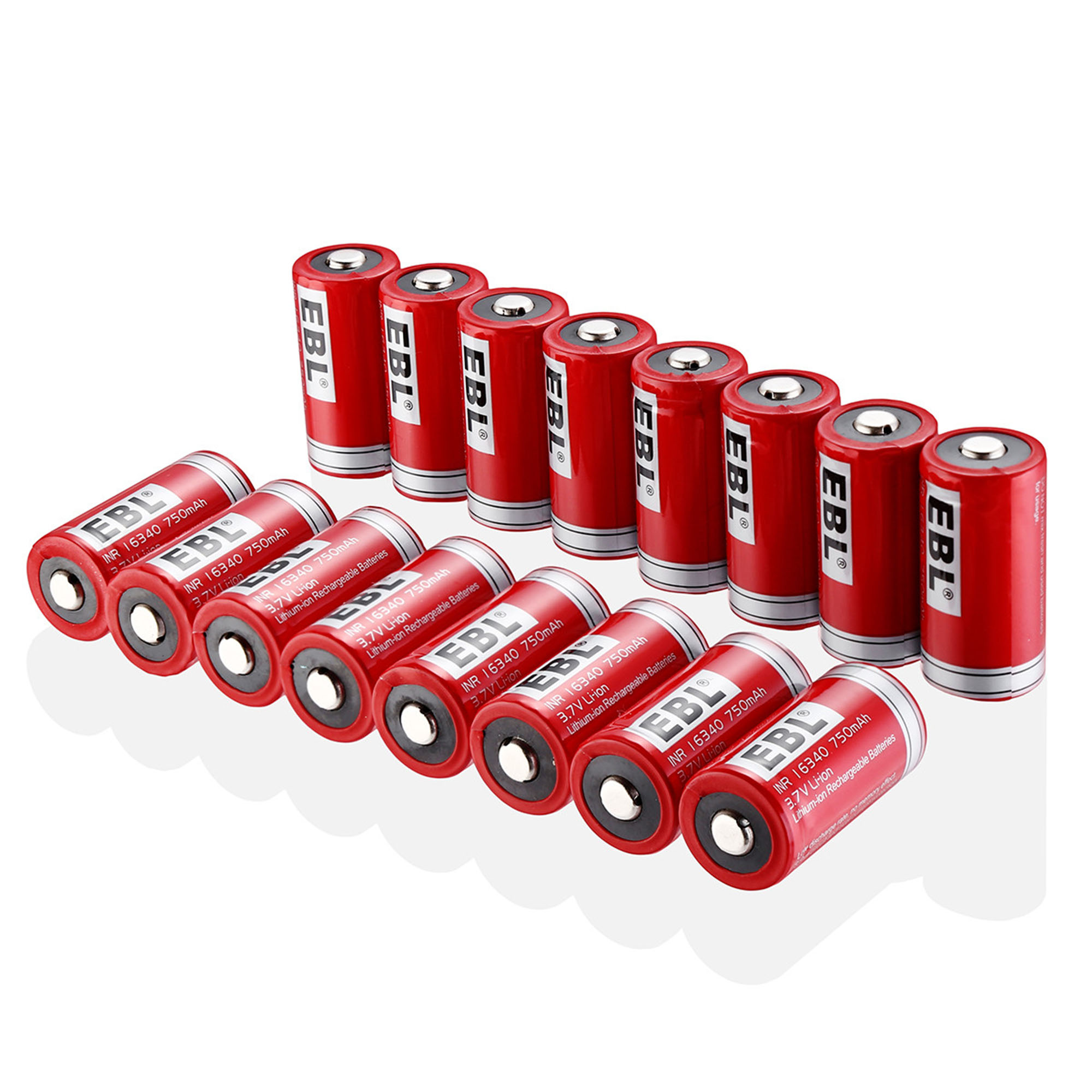 EBL 16-Pack 16340 RCR123A Battery 750mAh Lithium-ion Rechargeable Batteries Flashlight Arlo Wireless Security Cameras
