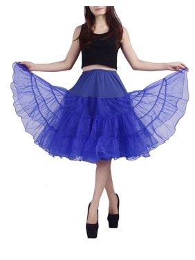 Women's Petticoat Tutu Skirt Vintage Rockabilly Swing Dress Underskirt (L-XL, Black)