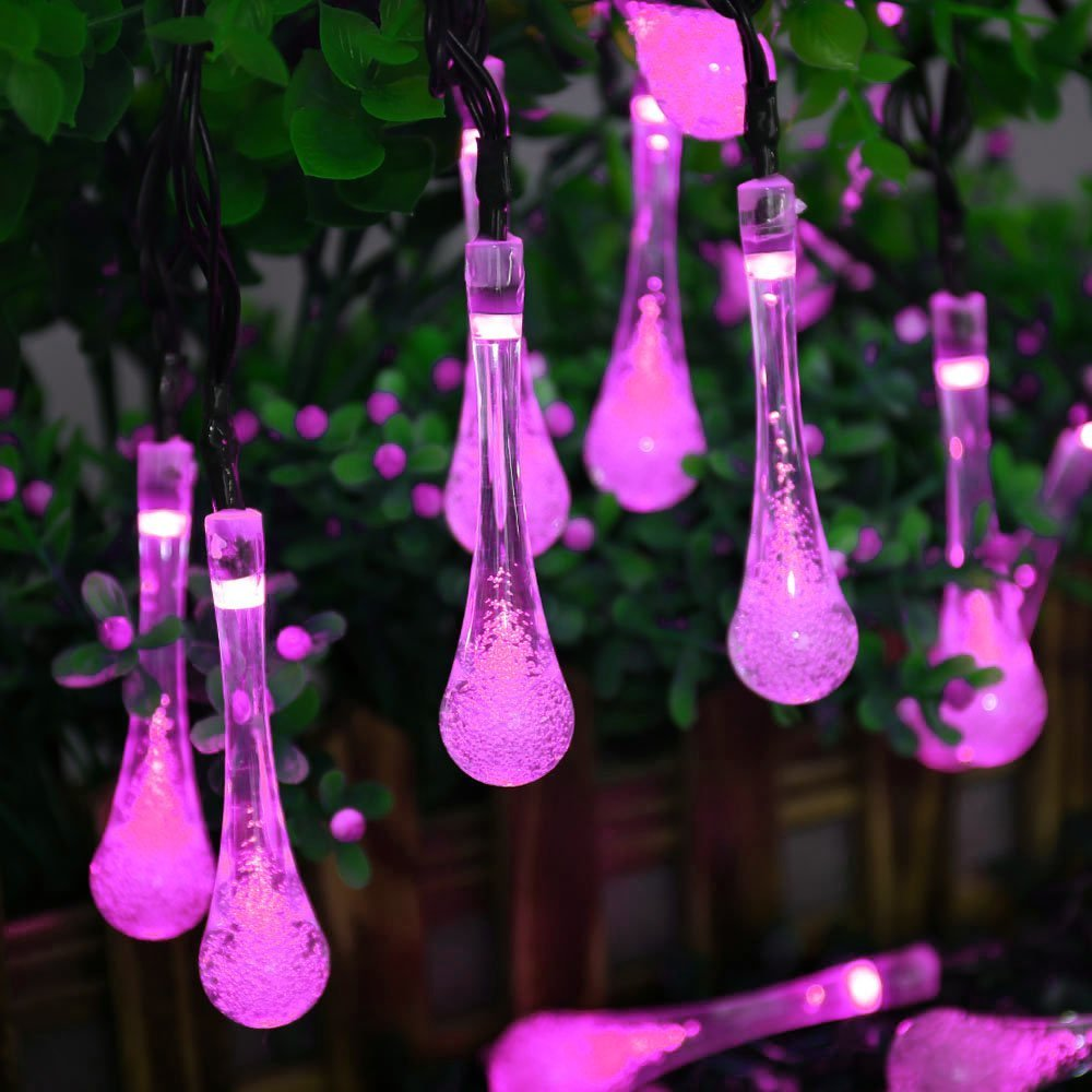 LUCKLED 2PACK Patio Solar String Lights, 19.2ft 30 LED Crystal Water Drop Outdoor Decorative Lights, Fairy LED String Lights (Blue)