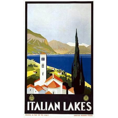 Italian Lakes Vintage Travel Poster Print ()